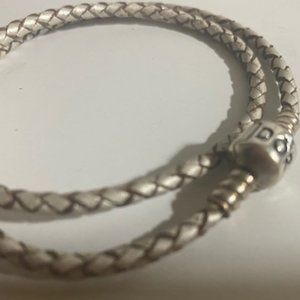 Silver Pandora leather double bracelet